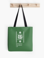 Accessible Exit Sign Project Wheelchair Wheelie Running Man Symbol Means of Egress Icon Disability Emergency Evacuation Fire Safety Lift Elevator Tote Bag 7