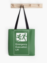 Accessible Exit Sign Project Wheelchair Wheelie Running Man Symbol Means of Egress Icon Disability Emergency Evacuation Fire Safety Lift Elevator Tote Bag 8