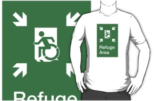 Accessible Exit Sign Project Wheelchair Wheelie Running Man Symbol Means of Egress Icon Disability Emergency Evacuation Fire Safety Refuge Area Adult t-shirt 1
