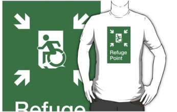 Accessible Exit Sign Project Wheelchair Wheelie Running Man Symbol Means of Egress Icon Disability Emergency Evacuation Fire Safety Refuge Area Adult t-shirt 2