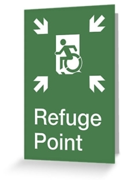 Accessible Exit Sign Project Wheelchair Wheelie Running Man Symbol Means of Egress Icon Disability Emergency Evacuation Fire Safety Refuge Area Greeting Card 1
