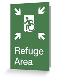 Accessible Exit Sign Project Wheelchair Wheelie Running Man Symbol Means of Egress Icon Disability Emergency Evacuation Fire Safety Refuge Area Greeting Card 2
