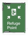 Accessible Exit Sign Project Wheelchair Wheelie Running Man Symbol Means of Egress Icon Disability Emergency Evacuation Fire Safety Refuge Area iPad Case 2