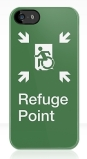Accessible Exit Sign Project Wheelchair Wheelie Running Man Symbol Means of Egress Icon Disability Emergency Evacuation Fire Safety Refuge Area iPhone Case 1