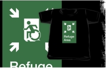 Accessible Exit Sign Project Wheelchair Wheelie Running Man Symbol Means of Egress Icon Disability Emergency Evacuation Fire Safety Refuge Area Kids T-shirt 1