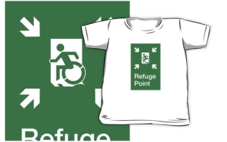 Accessible Exit Sign Project Wheelchair Wheelie Running Man Symbol Means of Egress Icon Disability Emergency Evacuation Fire Safety Refuge Area Kids T-shirt 2