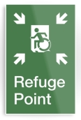 Accessible Exit Sign Project Wheelchair Wheelie Running Man Symbol Means of Egress Icon Disability Emergency Evacuation Fire Safety Refuge Area Metal Printed 1