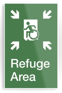 Accessible Exit Sign Project Wheelchair Wheelie Running Man Symbol Means of Egress Icon Disability Emergency Evacuation Fire Safety Refuge Area Metal Printed 2