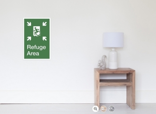 Accessible Exit Sign Project Wheelchair Wheelie Running Man Symbol Means of Egress Icon Disability Emergency Evacuation Fire Safety Refuge Area Poster 1