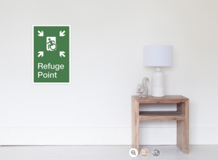 Accessible Exit Sign Project Wheelchair Wheelie Running Man Symbol Means of Egress Icon Disability Emergency Evacuation Fire Safety Refuge Area Poster 2