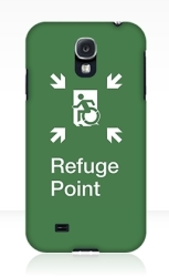 Accessible Exit Sign Project Wheelchair Wheelie Running Man Symbol Means of Egress Icon Disability Emergency Evacuation Fire Safety Refuge Area Samsung Galaxy Case 1