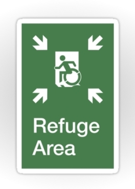 Accessible Exit Sign Project Wheelchair Wheelie Running Man Symbol Means of Egress Icon Disability Emergency Evacuation Fire Safety Refuge Area Sticker 1