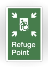 Accessible Exit Sign Project Wheelchair Wheelie Running Man Symbol Means of Egress Icon Disability Emergency Evacuation Fire Safety Refuge Area Sticker 2