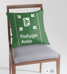 Accessible Exit Sign Project Wheelchair Wheelie Running Man Symbol Means of Egress Icon Disability Emergency Evacuation Fire Safety Refuge Area Throw Pillow 2