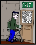 Elderly Man using a walking frame opening an exit door