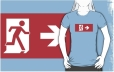 Running Man Fire Safety Exit Sign Emergency Evacuation Adult T-Shirt 1
