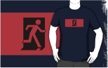Running Man Fire Safety Exit Sign Emergency Evacuation Adult T-Shirt 101