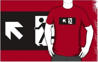 Running Man Fire Safety Exit Sign Emergency Evacuation Adult T-Shirt 102