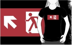 Running Man Fire Safety Exit Sign Emergency Evacuation Adult T-Shirt 107