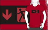 Running Man Fire Safety Exit Sign Emergency Evacuation Adult T-Shirt 11