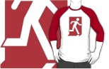 Running Man Fire Safety Exit Sign Emergency Evacuation Adult T-Shirt 111