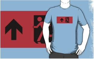 Running Man Fire Safety Exit Sign Emergency Evacuation Adult T-Shirt 113