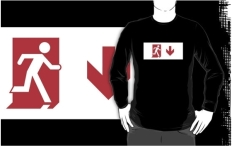 Running Man Fire Safety Exit Sign Emergency Evacuation Adult T-Shirt 114