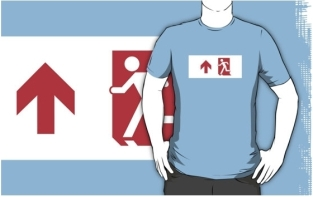 Running Man Fire Safety Exit Sign Emergency Evacuation Adult T-Shirt 116