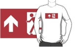 Running Man Fire Safety Exit Sign Emergency Evacuation Adult T-Shirt 12