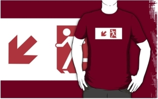 Running Man Fire Safety Exit Sign Emergency Evacuation Adult T-Shirt 120