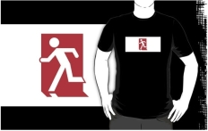 Running Man Fire Safety Exit Sign Emergency Evacuation Adult T-Shirt 122