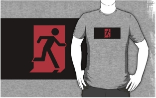 Running Man Fire Safety Exit Sign Emergency Evacuation Adult T-Shirt 123
