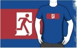 Running Man Fire Safety Exit Sign Emergency Evacuation Adult T-Shirt 124