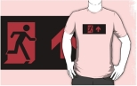 Running Man Fire Safety Exit Sign Emergency Evacuation Adult T-Shirt 127