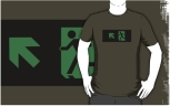 Running Man Fire Safety Exit Sign Emergency Evacuation Adult T-Shirt 13