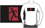 Running Man Fire Safety Exit Sign Emergency Evacuation Adult T-Shirt 15