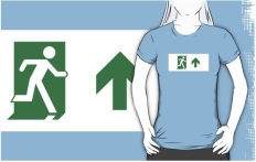 Running Man Fire Safety Exit Sign Emergency Evacuation Adult T-Shirt 16