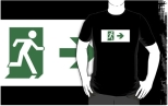 Running Man Fire Safety Exit Sign Emergency Evacuation Adult T-Shirt 17