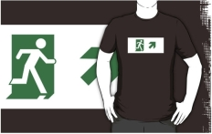 Running Man Fire Safety Exit Sign Emergency Evacuation Adult T-Shirt 18