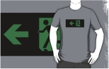 Running Man Fire Safety Exit Sign Emergency Evacuation Adult T-Shirt 2