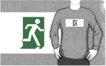 Running Man Fire Safety Exit Sign Emergency Evacuation Adult T-Shirt 21