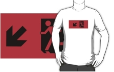 Running Man Fire Safety Exit Sign Emergency Evacuation Adult T-Shirt 22