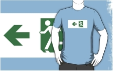Running Man Fire Safety Exit Sign Emergency Evacuation Adult T-Shirt 25