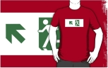 Running Man Fire Safety Exit Sign Emergency Evacuation Adult T-Shirt 26