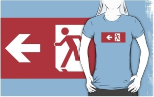 Running Man Fire Safety Exit Sign Emergency Evacuation Adult T-Shirt 27