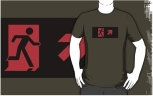 Running Man Fire Safety Exit Sign Emergency Evacuation Adult T-Shirt 3