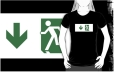 Running Man Fire Safety Exit Sign Emergency Evacuation Adult T-Shirt 30