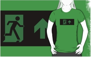 Running Man Fire Safety Exit Sign Emergency Evacuation Adult T-Shirt 32