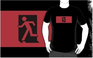 Running Man Fire Safety Exit Sign Emergency Evacuation Adult T-Shirt 34