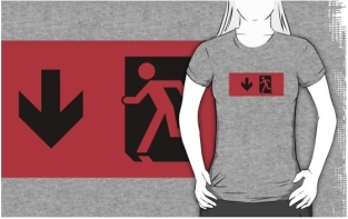 Running Man Fire Safety Exit Sign Emergency Evacuation Adult T-Shirt 41